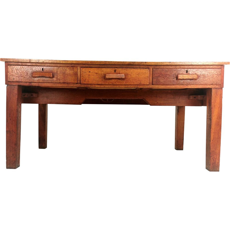 Vintage Oak British Architect Draughtsmans Desk