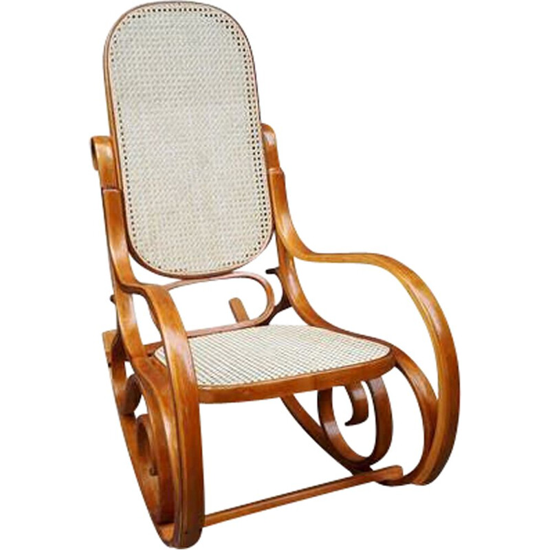 Vintage Rocking chair in curved wood and wickerwork