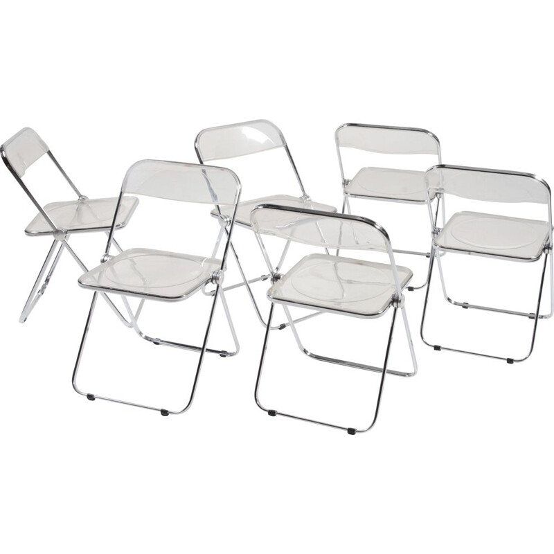 Set of 4 vintage Plia Folding Chairs by Giancarlo Piretti for Castelli Anonima Castelli, 1960s