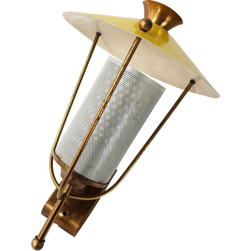 Vintage white lacquered metal and brass 1950's wall light