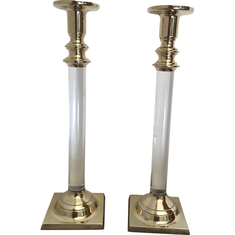 Pair of vintage Bronze and Plexiglas candleholders by Estride Ericson