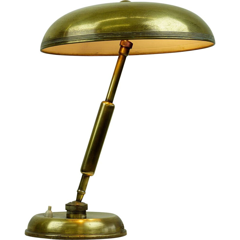 Midcentury Brass Table Lamp by Giovanni Michelucci for Lariolux Italian 1940s
