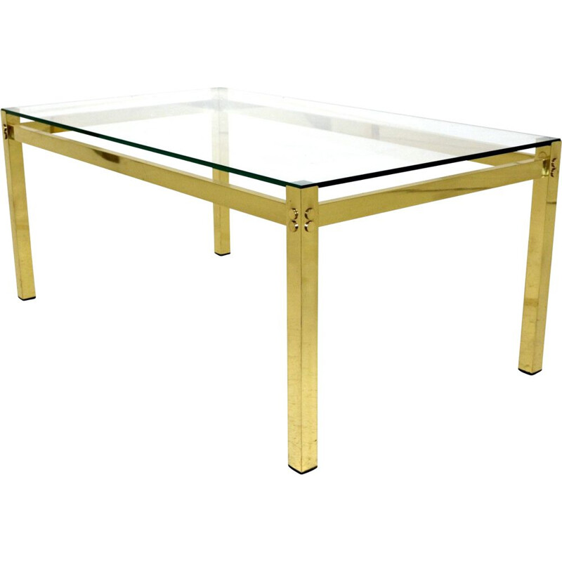 Vintage coffee table in metal and glass, Sweden 1970