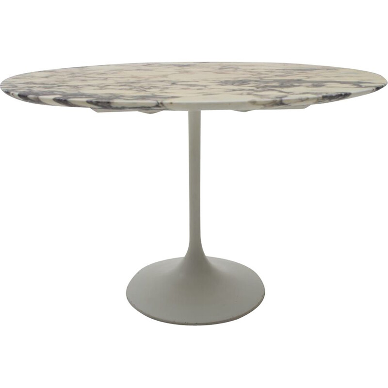 Vintage Oval Marble Side Table on Tulip Base, 1960s