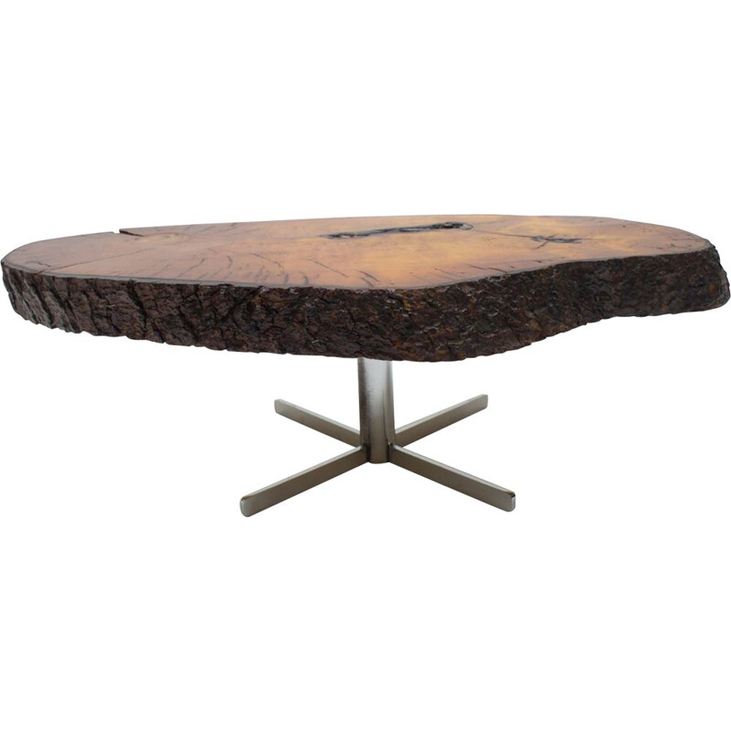 Vintage Rotating Tree Trunk Coffee Table with Cross Base, 1960s