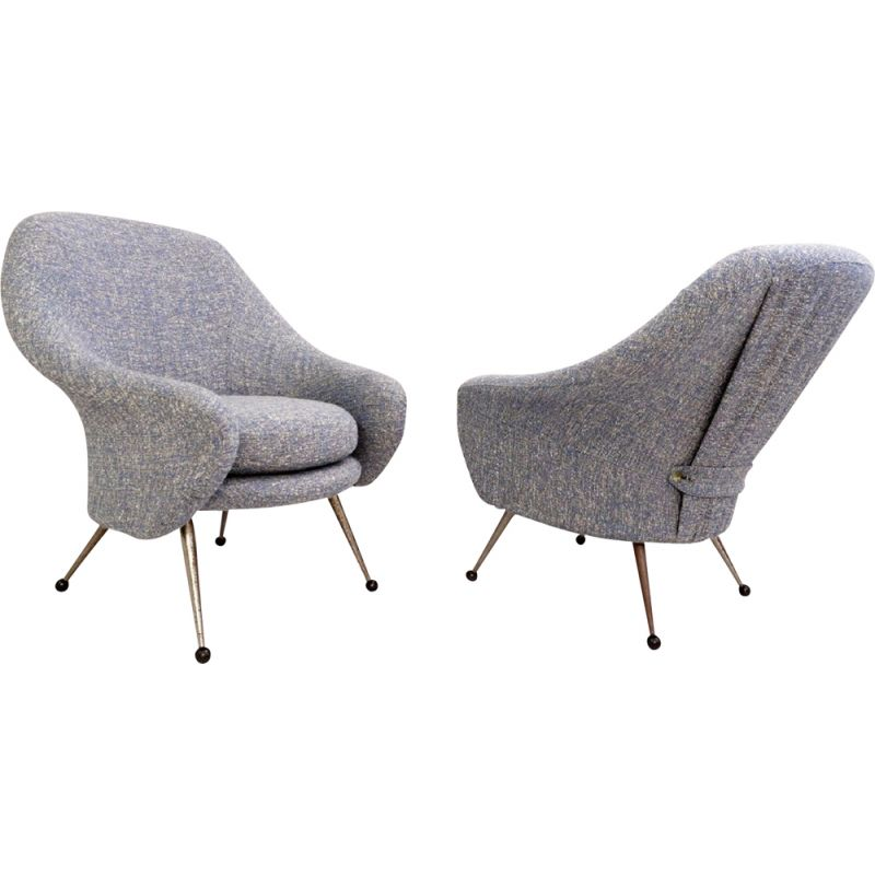 Pair Of Vintage Armchairs Model Martingale Produced By Arflex Marco Zanusso