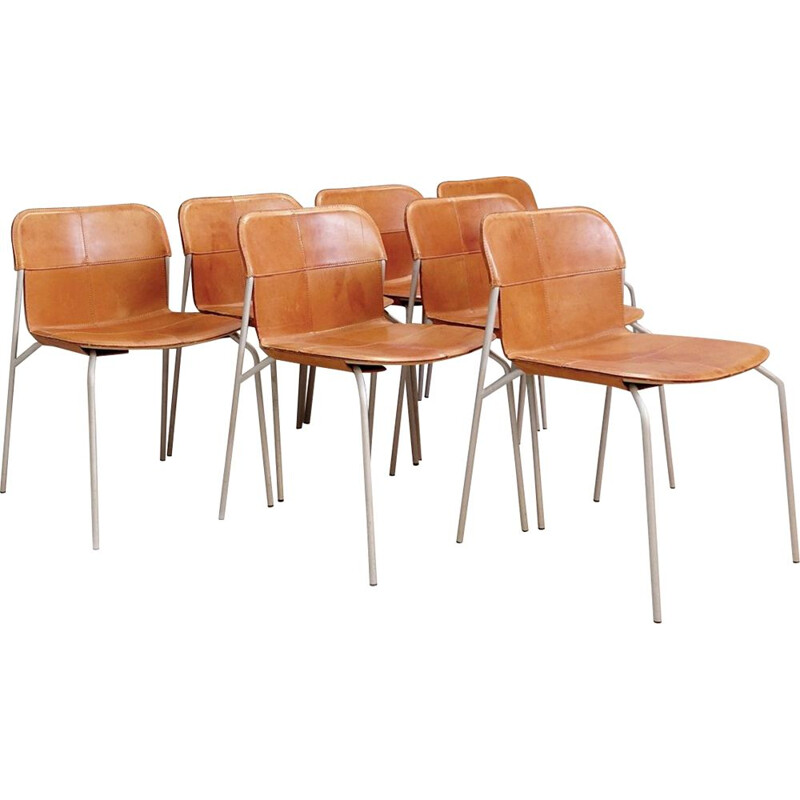 Suite of 7 Vintage Chairs in Metal And Leather Cognac Fasem Italy