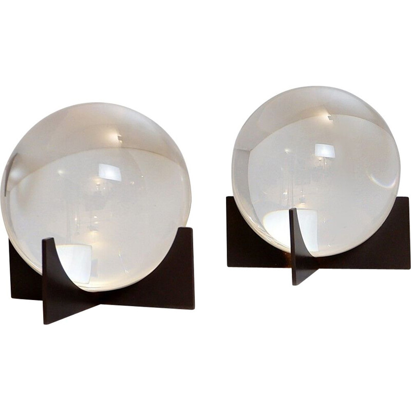 Pair of Vintage Glass Spheres On Stand