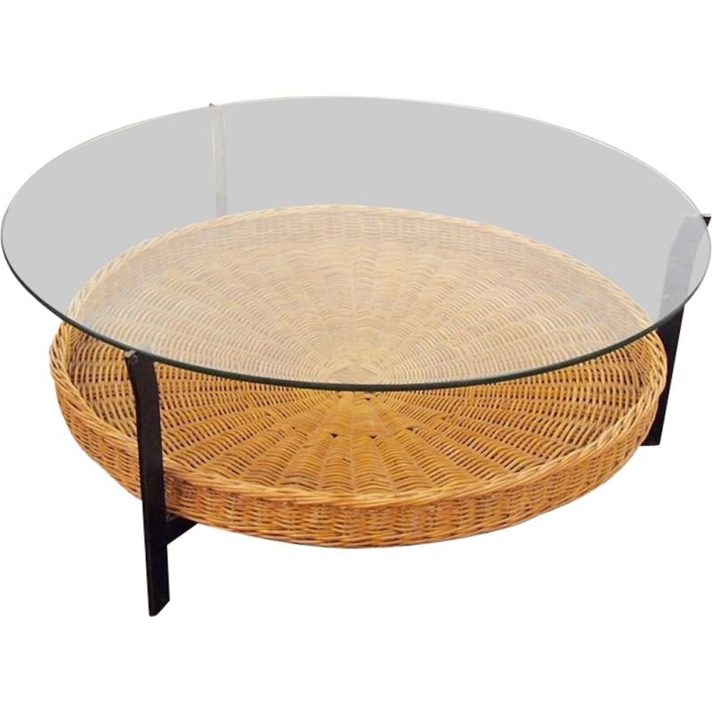 Vintage coffee table in Rattan, 1960