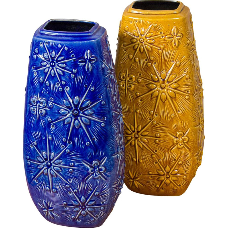 Pair of vintage Ceramic Vases in Blue and Ochre German 1970s