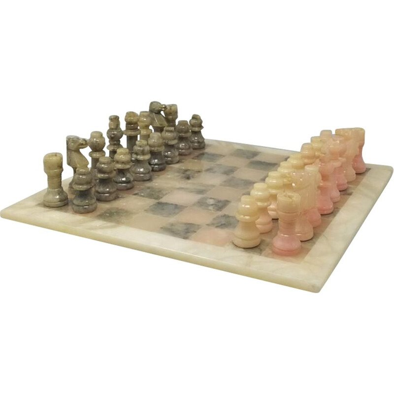 Vintage Chess Set in Alabaster Handmade Italian 1960s