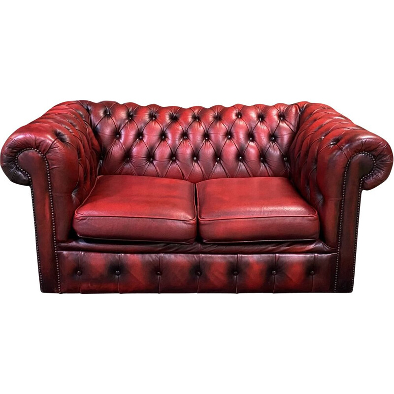 Vintage sofa 2-seater Chesterfield in red leather 1980