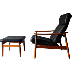 Scandinavian France & Son lounge chair in leather, Arne VODDER - 1960s
