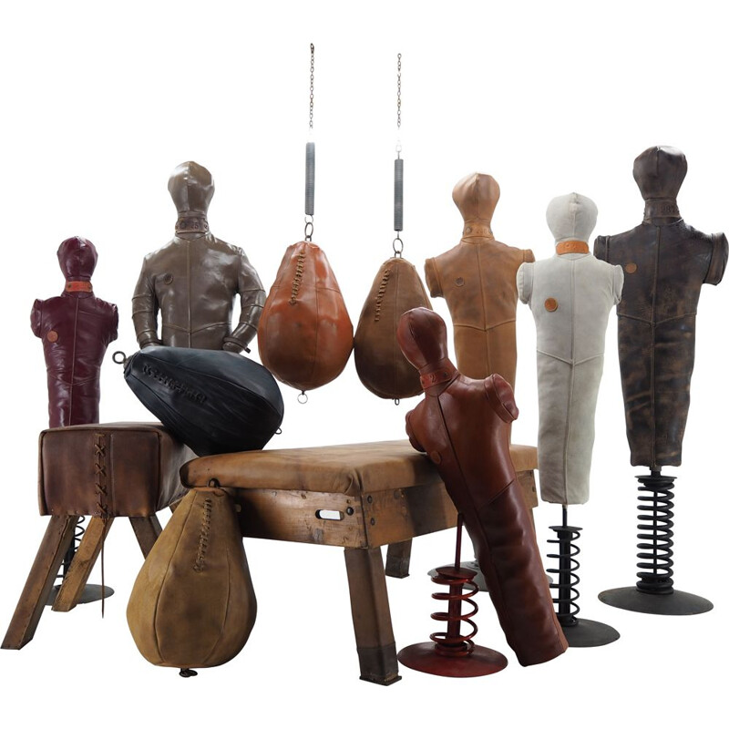 Vintage Leather Gym Equipment or Decoration, Boxing or Wrestling Dummies  Benchs 1990s