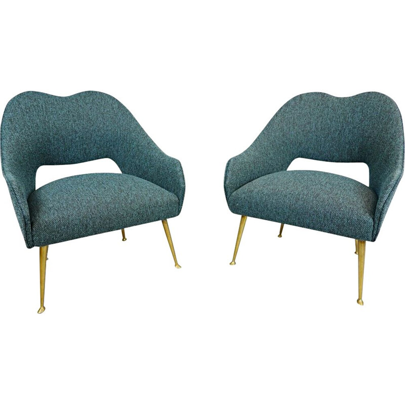 Pair of Vintage Italian Cocktail Armchairs, New upholstery