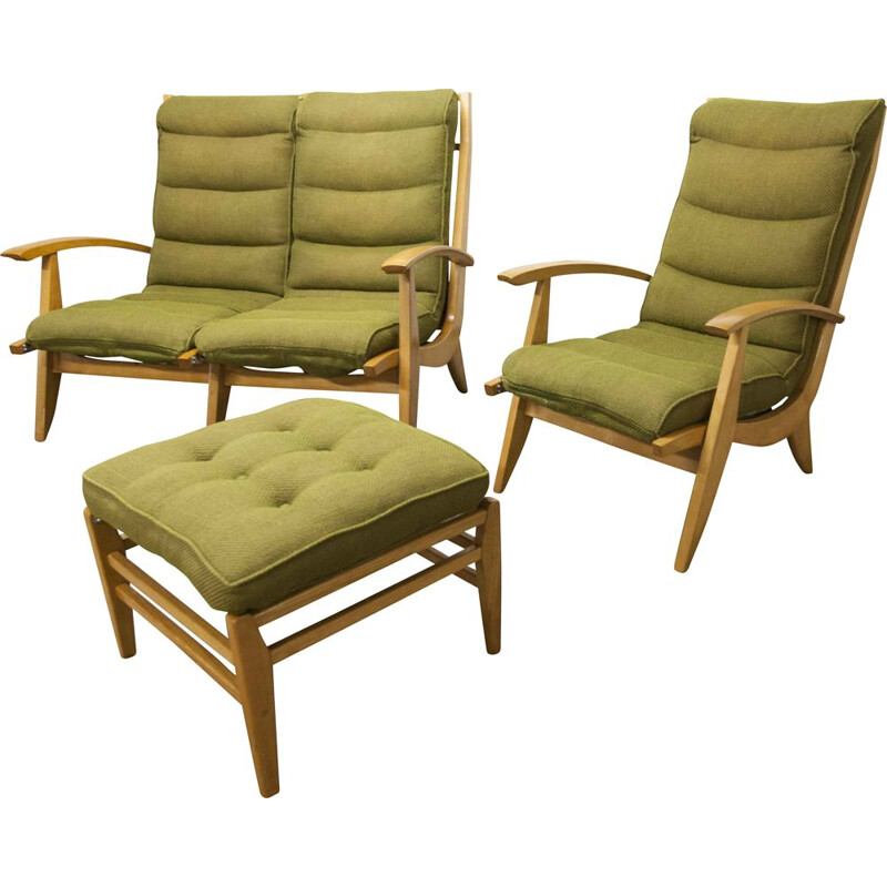 Vintage living room set Free span sofa armchair and footrest green museum piece 1954