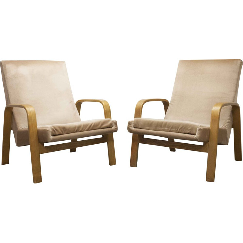 Pair of vintage bow wood Steiner ARP armchairs