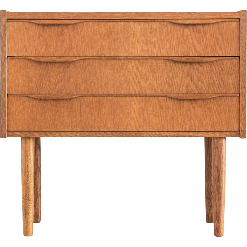 Mid century small oak chest of drawers danish 1970s