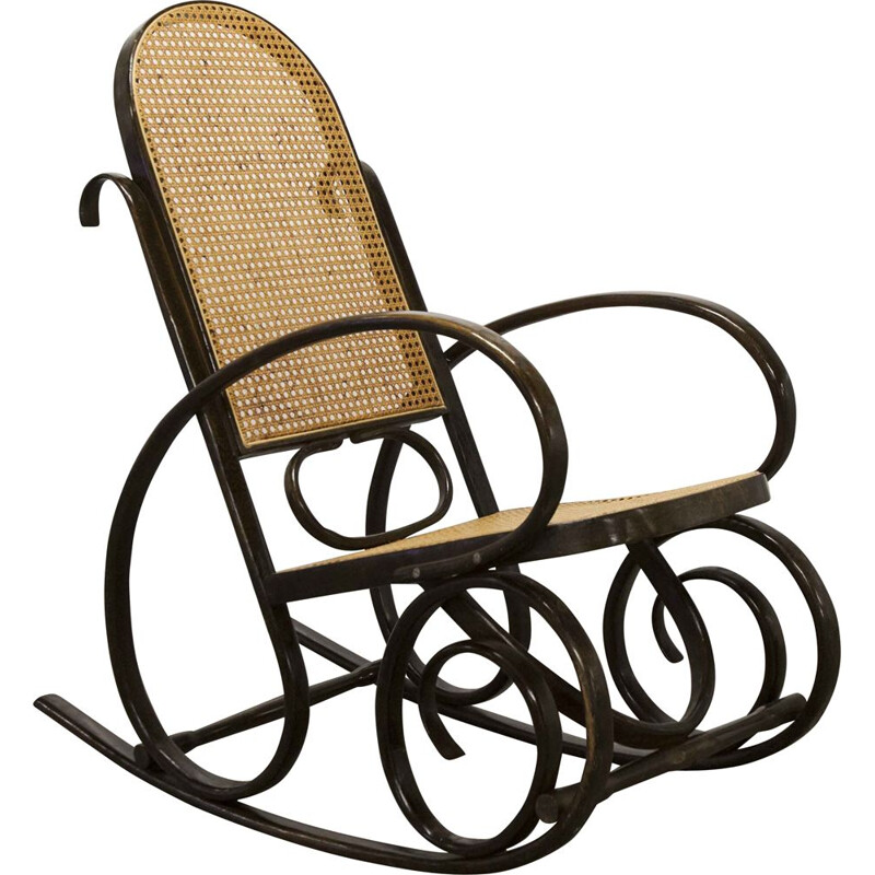 Rocking-chair vintage Thonet canage 1900