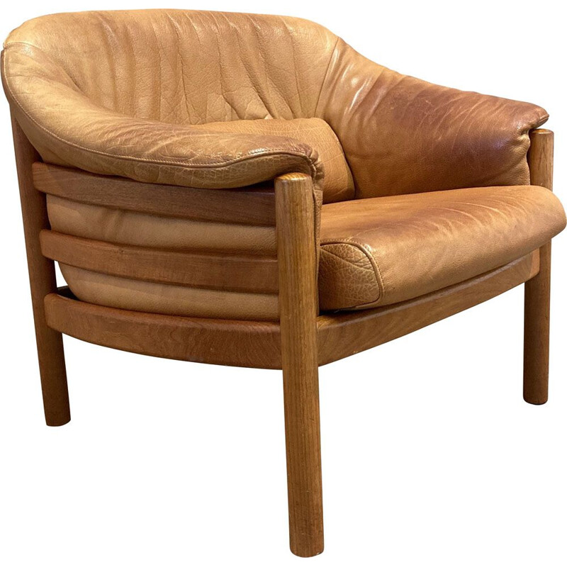 Vintage teak and Scandinavian leather armchair 1960