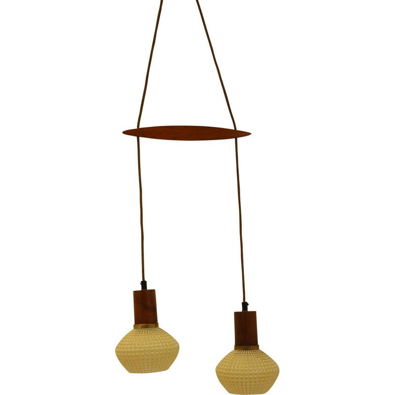 Vintage table hanging lamp with teak Danish  1960s