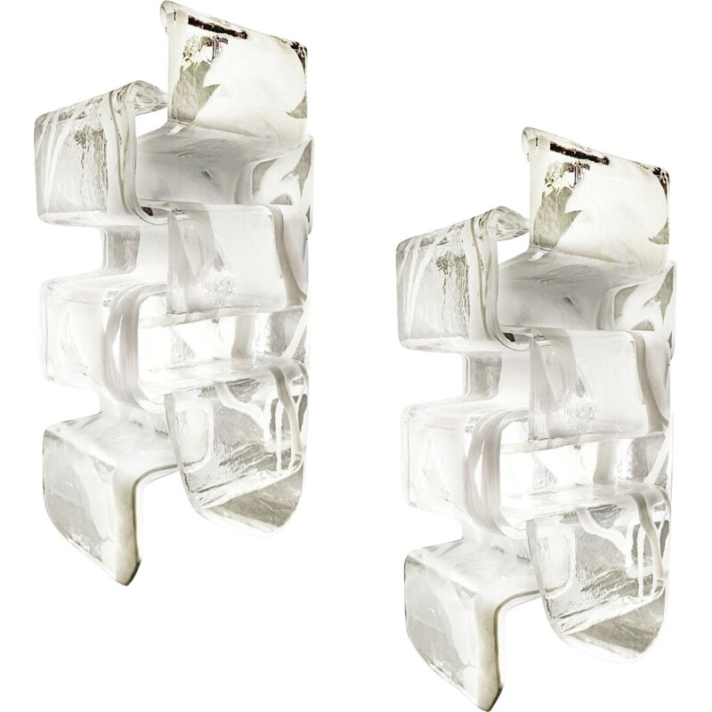 Pair of vintage Murano glass wall lights from Mazzega, Italy 1970