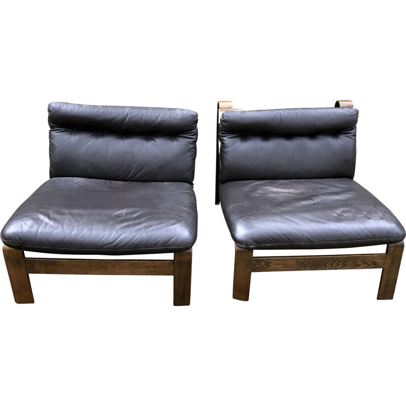 Pair of Vintage Brown Leather Brutalist Armchairs by Carl Straub 1960