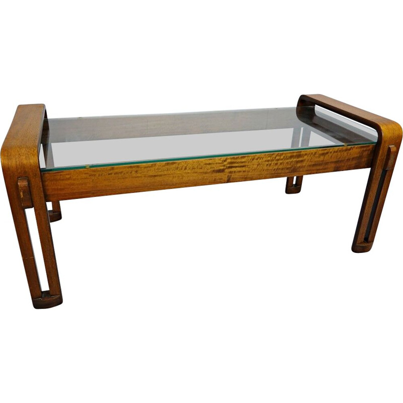 Vintage Coffee Table Curved Wood And Italian Glass