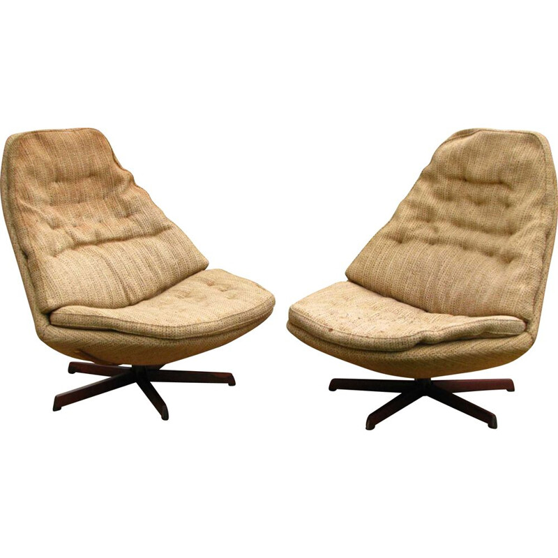 Pair of Vintage swivel armchair, Danish 1960s