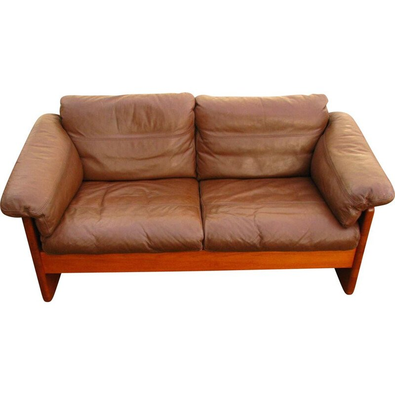 Vintage sofa leather and teak  by M. Larsen 1960