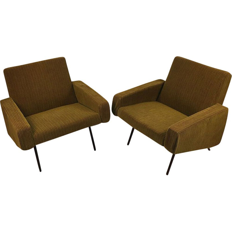 Pair of vintage armchairs by Joseph André Motte, model 743 edited by Steiner 1950