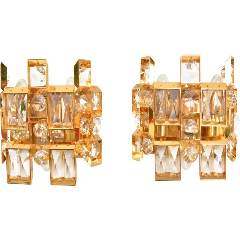 Pair of vintage gold-plated crystal wall lamps, Palwa, Germany, 1960s