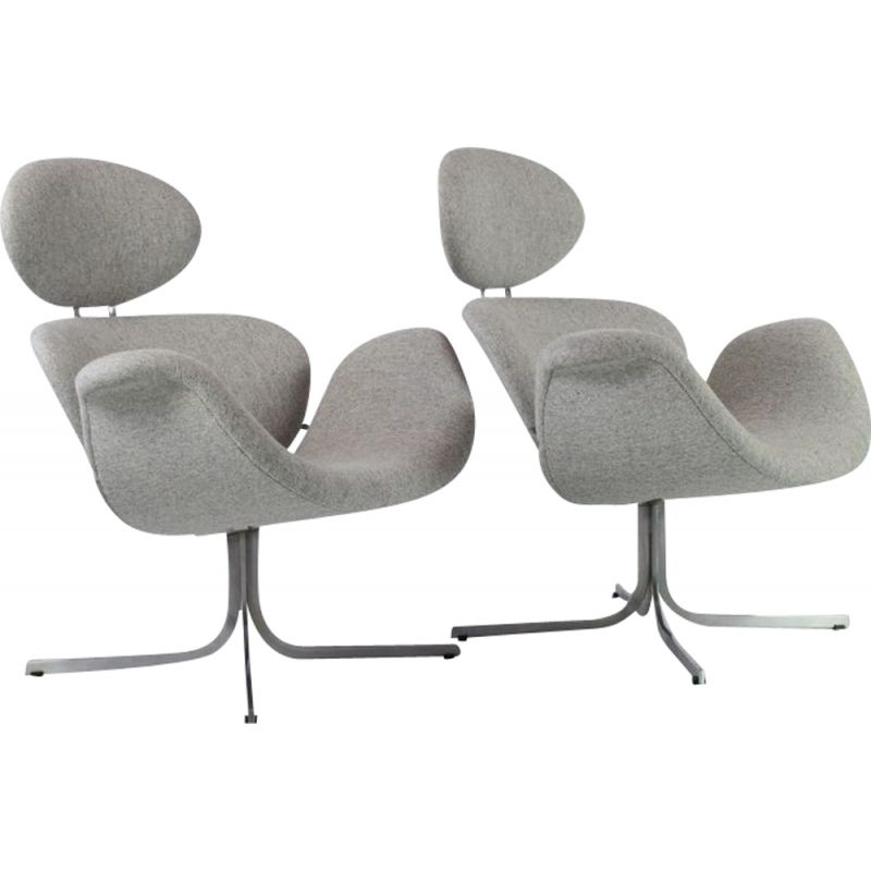 Pair of vintage Big Tulip lounge chairs by Pierre Paulin  for Artifort F551 first edition