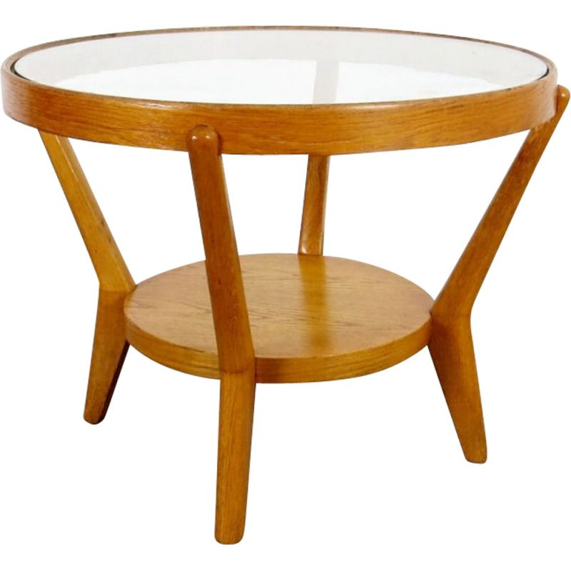 Vintage coffee table in glass and wood 1940