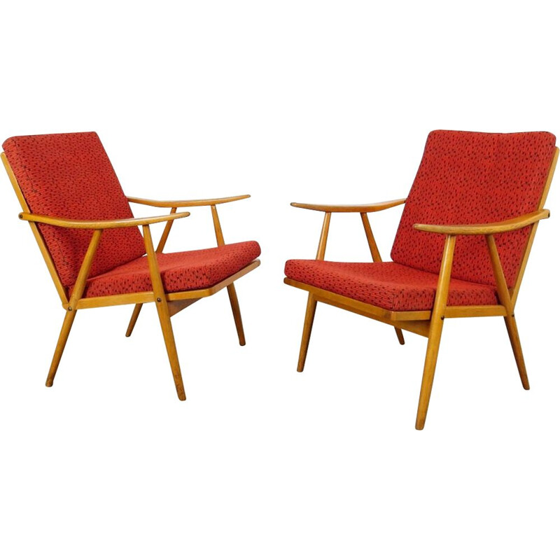 Pair of vintage red armchairs by Ton 1960s