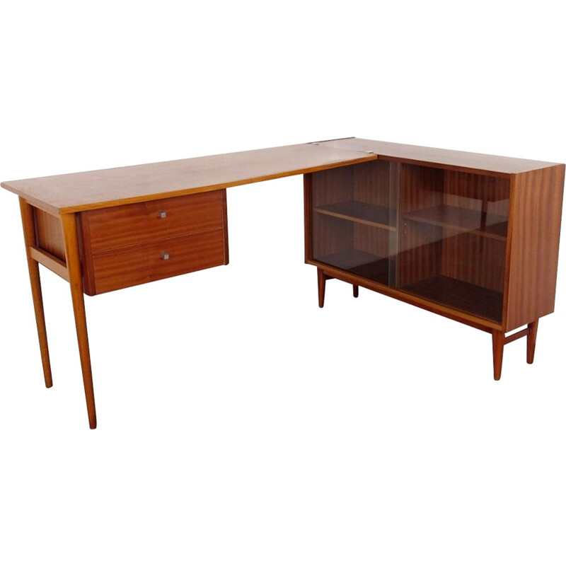 Vintage Writing table with bookshelf Czechoslovakia 1960s