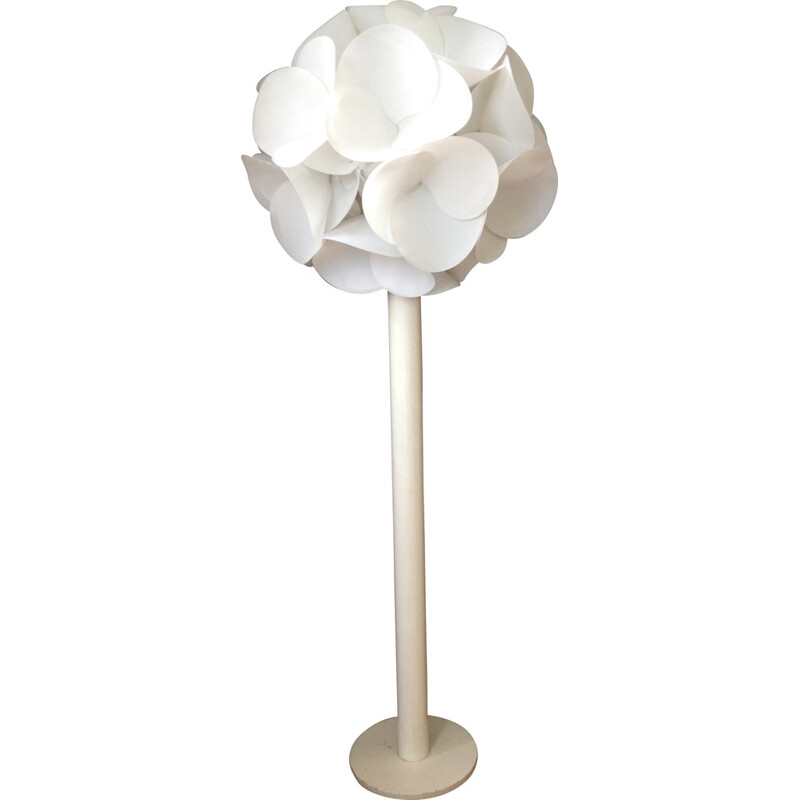 Floriforme floor lamp in white plastic and metal, Raoul RABA - 1968