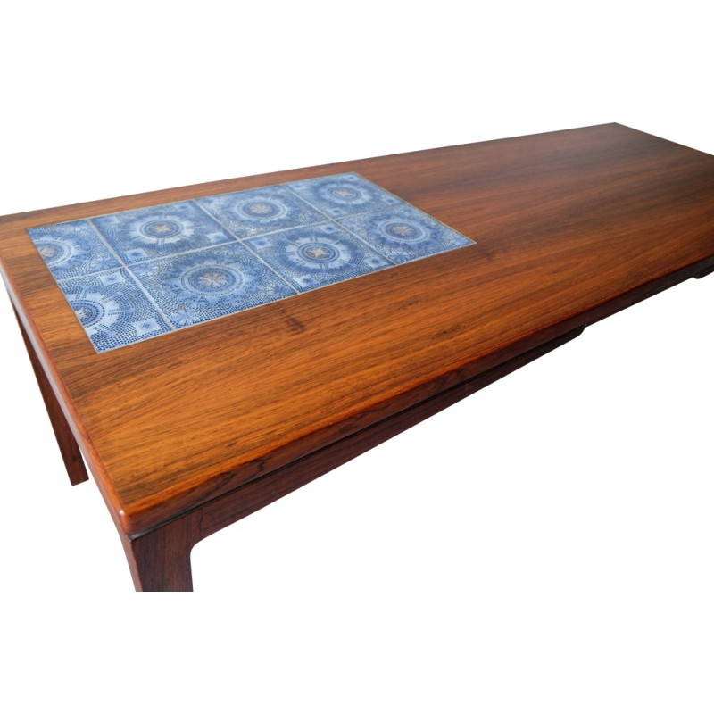 Danish Rosewood Coffee Table With Ceramic Tiles Decor   1960s