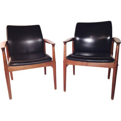 Pair of Scandinavian armchairs in teak and leather, Grete JALK - 1960s