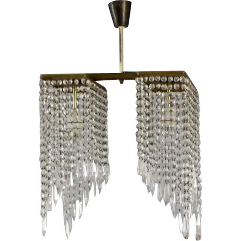 Vintage crystal chandelier , Czech 1969