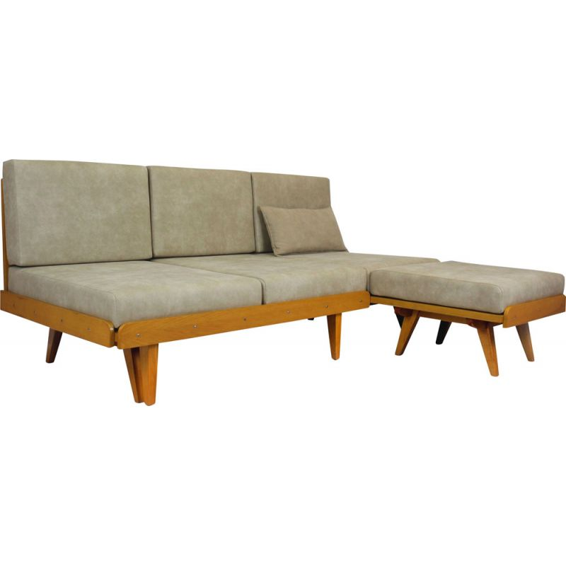Vintage corner sofa bed with pouf 1960