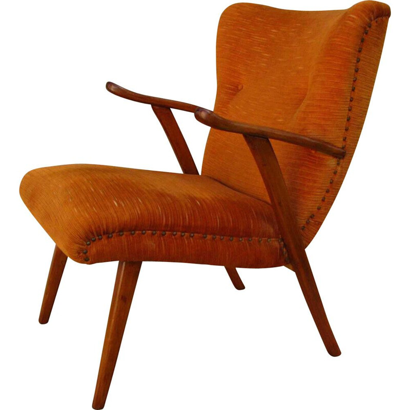Vintage armchair on straight legs, 1970