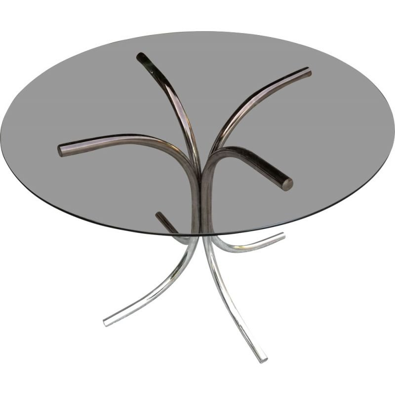 Vintage round smoked glass table 1970