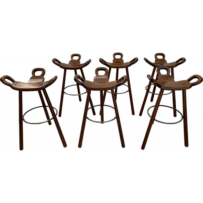 Set of 6 Vintage 'Marbella' Bar Stools Brutalist Spanish 1970