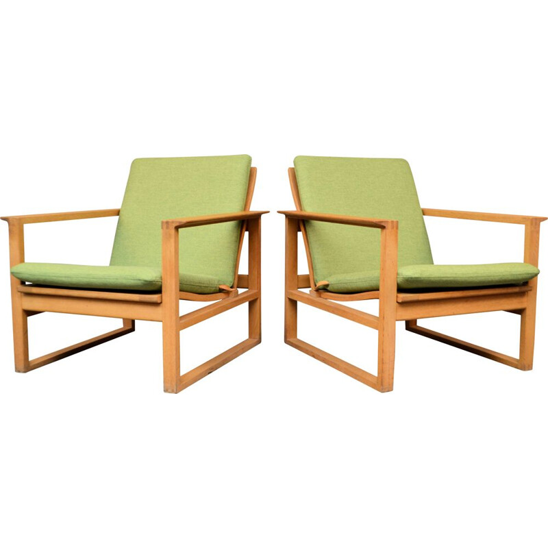 Pair of vintage Børge Mogensen oak lounge chairs, model 2256 1950