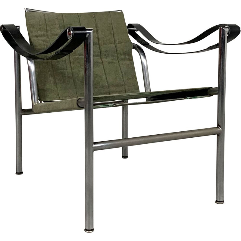 Vintage Kaki LC1 Armchair by Le Corbusier for Cassina, 1960s