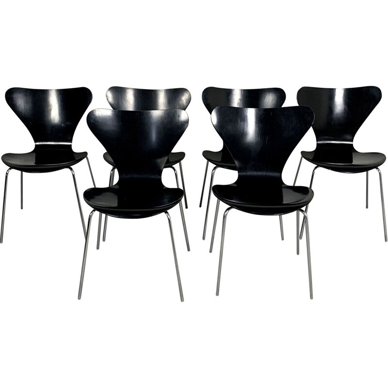 Set of 6 vintage Butterfly Chairs by Arne Jacobsen for Fritz Hansen, 1970s