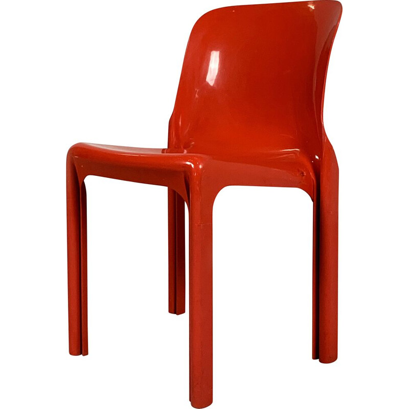 Vintage Red Selene Chair by Vico Magistretti for Artemide, 1970s
