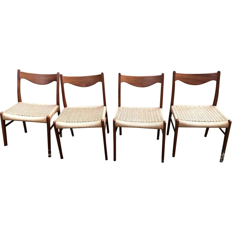 Set of 4 vintage chairs Arne Wahl Iversen teak and rope For Glyngøre Stolefabrik 1960