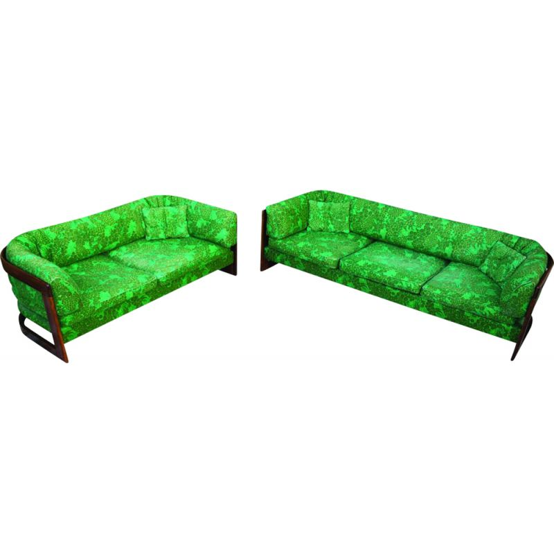 Pair of vintage rosewood sofa with 3-seater and 2-seater sofa by Lennart Bender for Stjernmobler